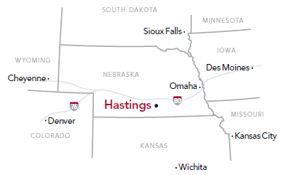 Regional map of Nebraska showing where Hastings College is