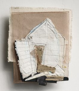 Textile artwork that looks like a house