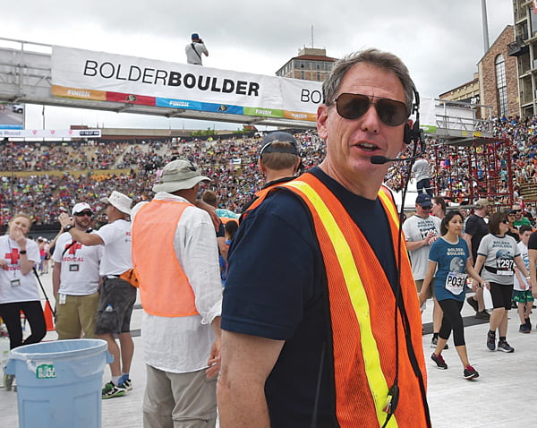 Cliff Bosley on BoulderBoulder race day. (Photo by Cliff Grassmick, Boulder Daily Camera.)