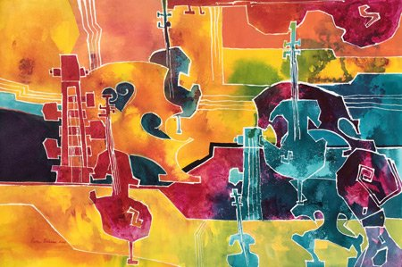 A watercolor painting of musical instruments.