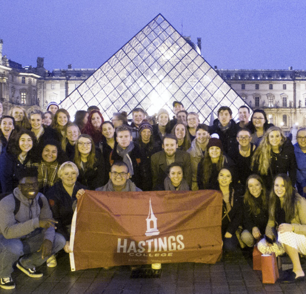 Students at the Louvre in Paris.