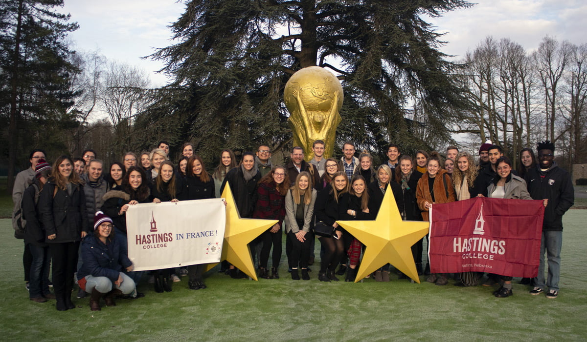 Students at Clairfontaine soccer complex in France