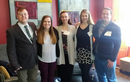 Image of students Austin Heinlein, Brenna Tripp, Alyssa Smith, Kylie Luth and James Lapka.