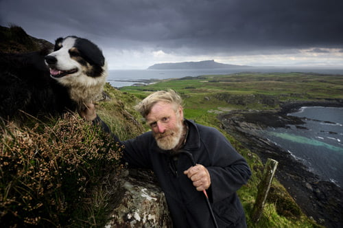 Photo of a man and his dog
