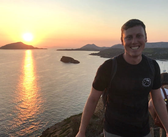 Shane Kleier (MAT '18) at the Temple of Poseidon during his Fulbright experience in Greece.