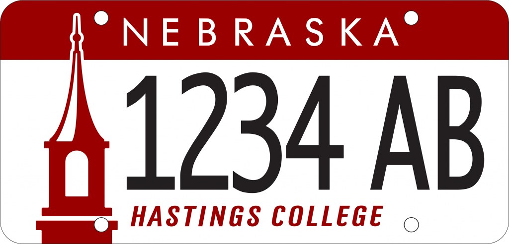 Hastings College license plate