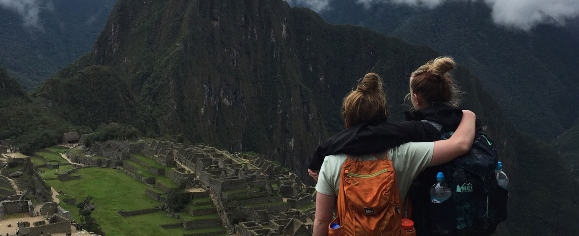 Two students overlooking Machu Picho.