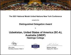 Certificate for Model UN award.