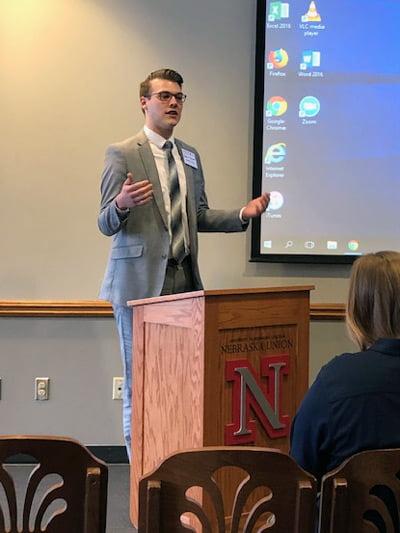 Nathan Navratil at a podium