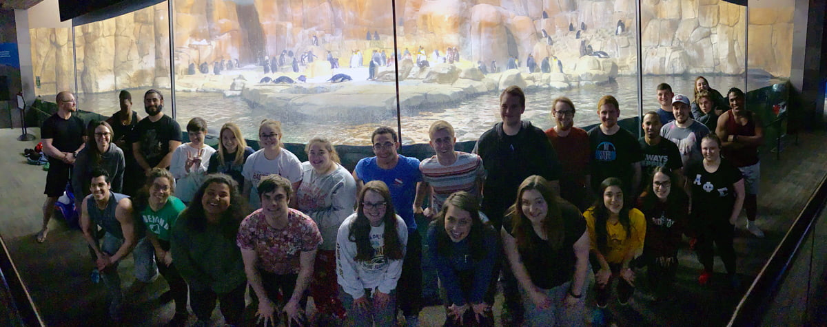 Students standing in front of a penguin exhibit.