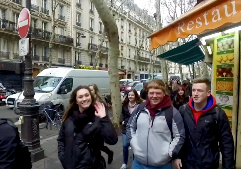 Students on a street in Paris