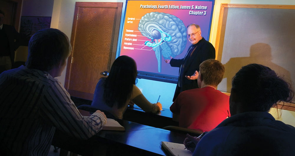 Dr. Lee Wigert in a classroom.