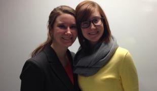 Liz Case and her twin Emily after Liz's Langvardt Scholar presentation