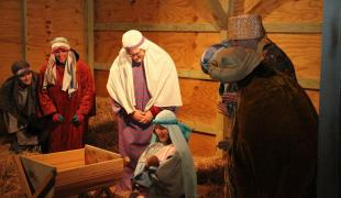 Hastings College students staff a live nativity in 2012.