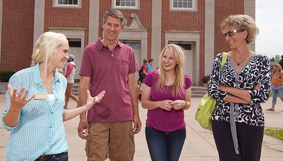 Parents on an admissions campus tour