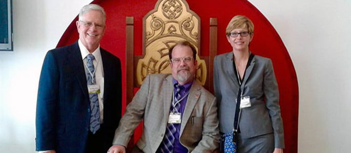 Photo of Hastings College President Don Jackson, Dr. Rob Babcock and Dr. Liz Frombgen.