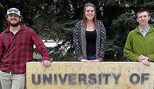 Travis Morrow '14, Shelby Follett '13 and Rudy Mignon '12 are Hastings College Chemistry alumni studying at the University of Wyoming.