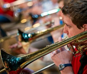 Picture of students playing trombones.